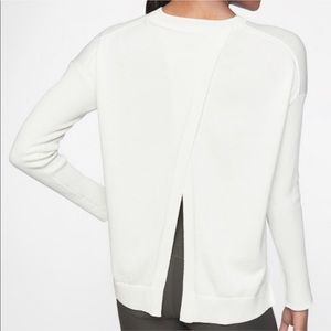 Athleta White Cross Back Sweater Sz Small